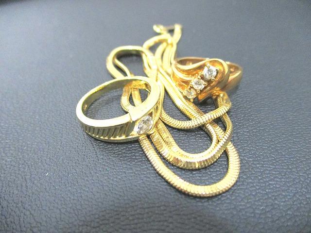 貴金属 K18 18金 ダイヤモンド リング ネックレス