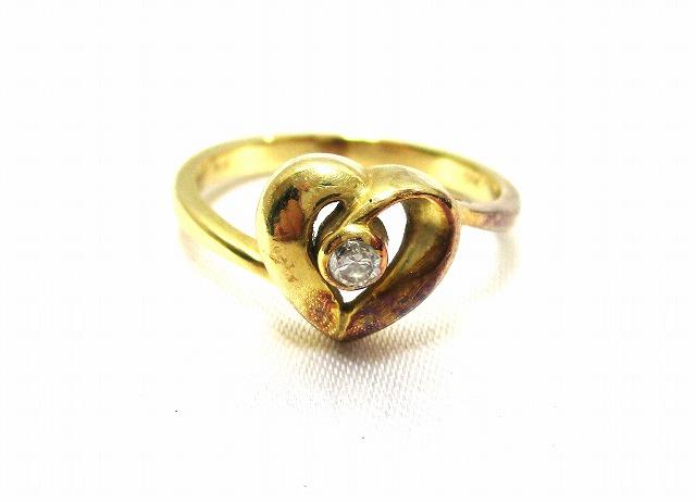 K18 指輪 ダイヤ付き